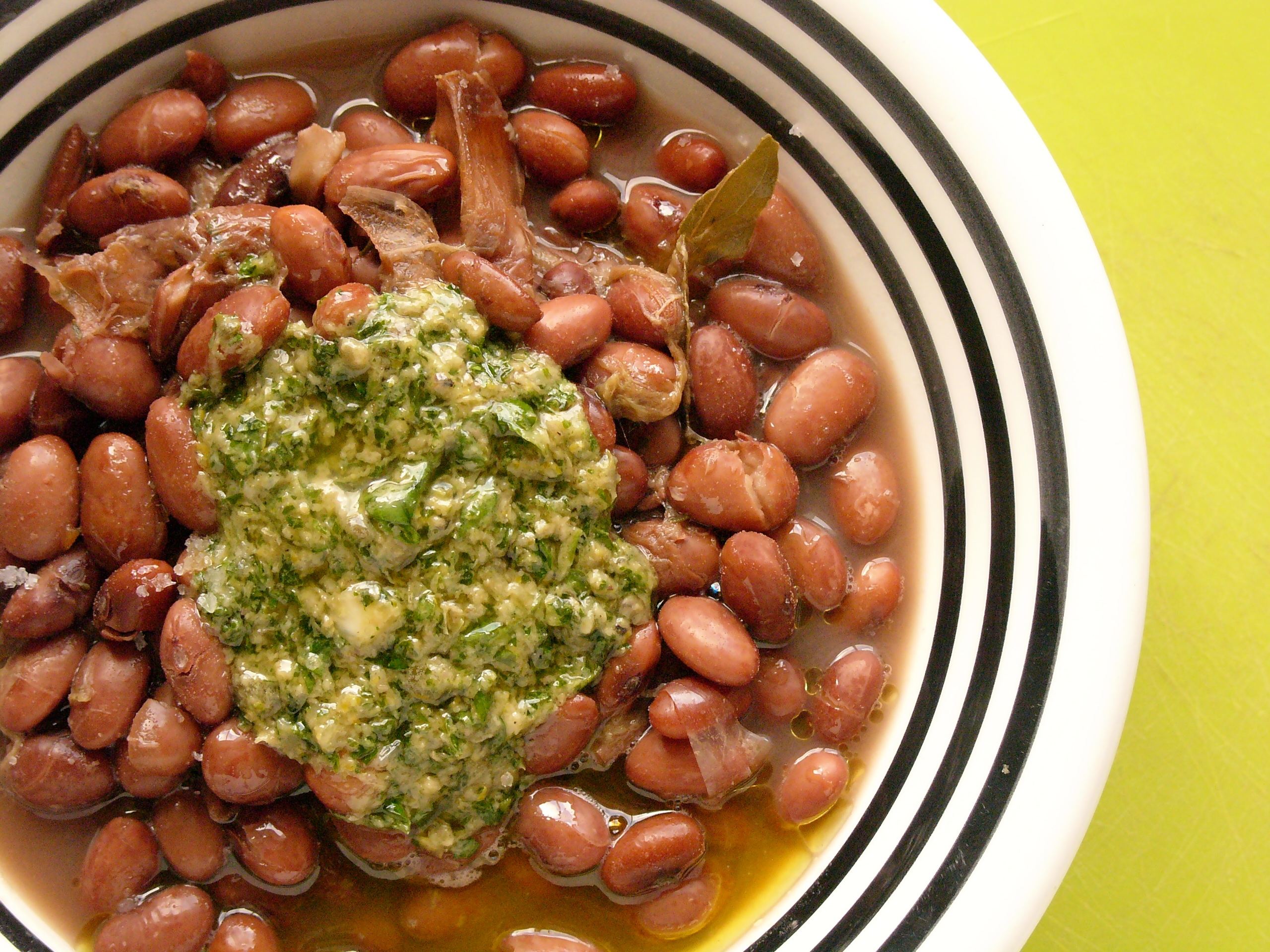 'Sometimes it snows in April': braised beans with greens