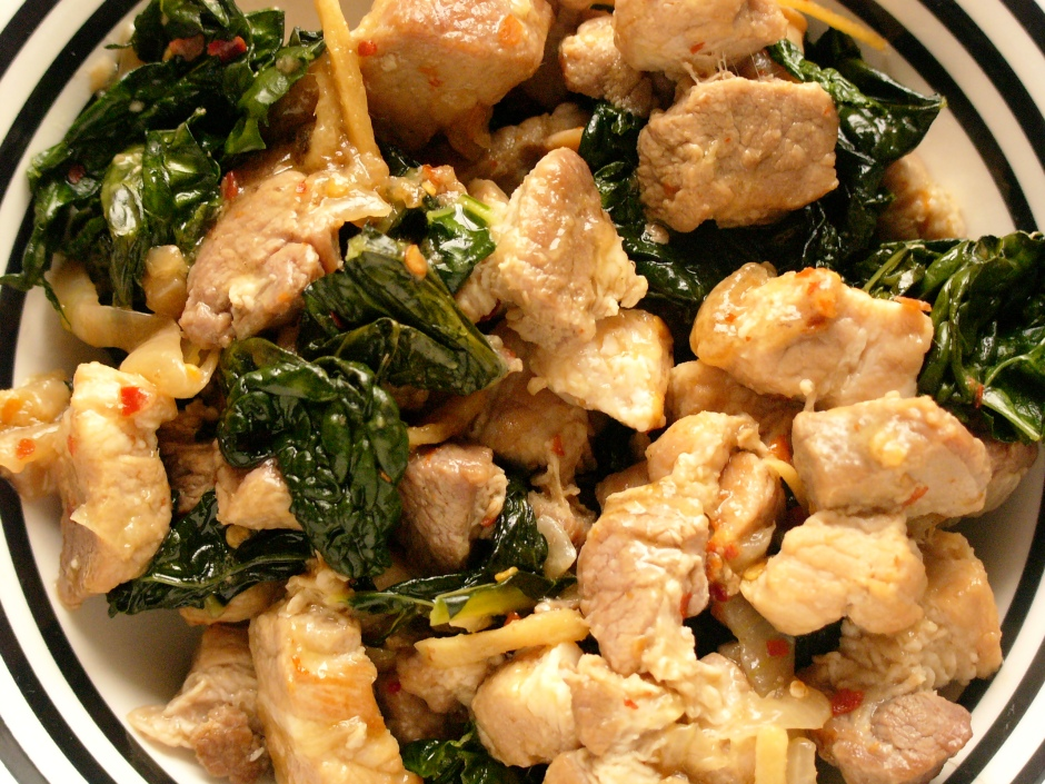 pork with greens and coconut milk