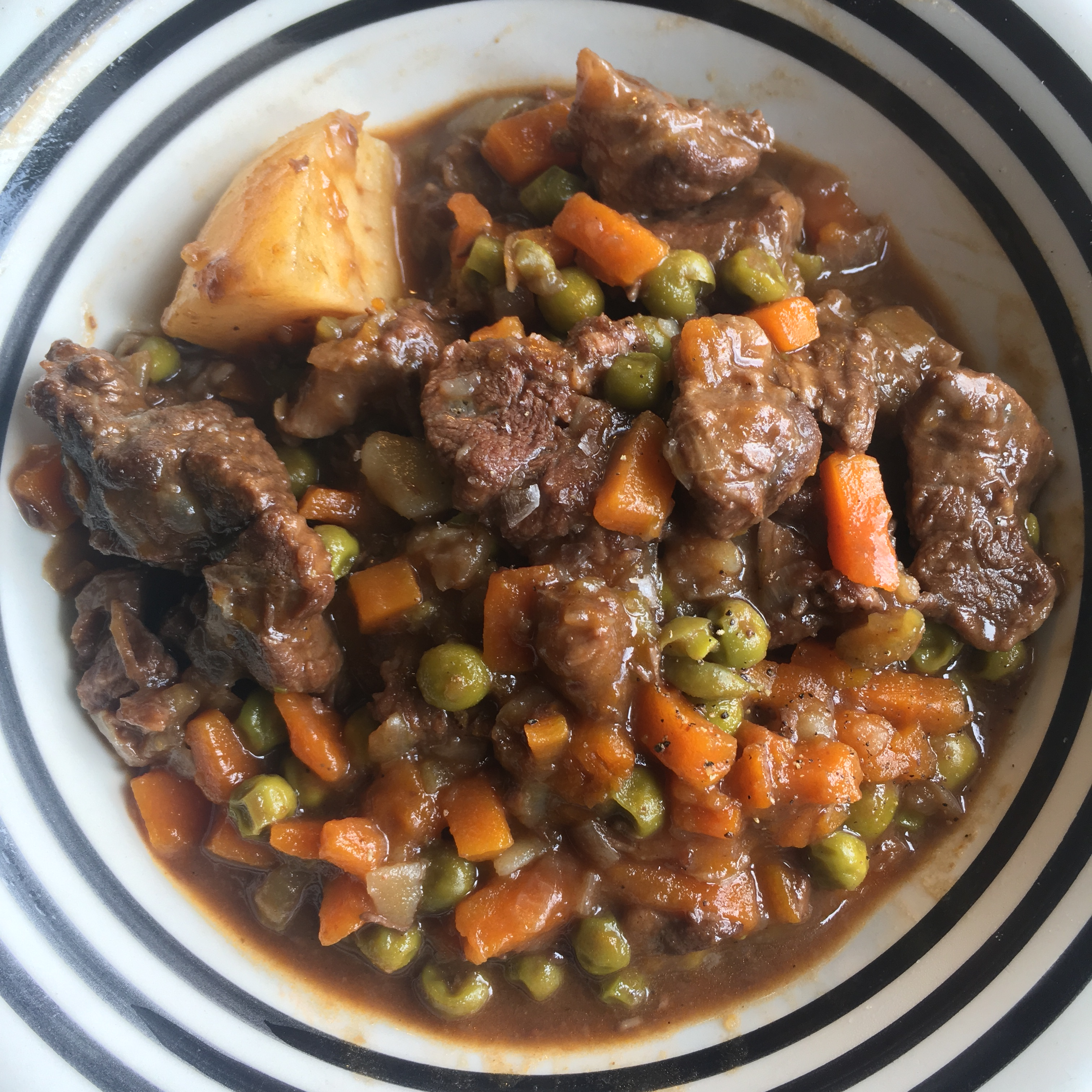 Giorgio Locatelli's beef stew with peas and potatoes